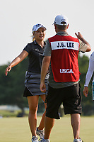 Jeongeun6 Lee (KOR) hugs her caddie on the green on 18 following round 4 of the 2019 US Women's Open, Charleston Country Club, Charleston, South Carolina,  USA. 6/2/2019.<br /> Picture: Golffile | Ken Murray<br /> <br /> All photo usage must carry mandatory copyright credit (© Golffile | Ken Murray)