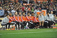 D.C. United bench during the game. D.C. United defeated Real Salt Lake 1-0 in their home opener, at RFK Stadium, Saturday March 9,2013.