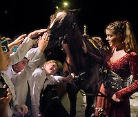 A group of 4-H horse project students from Santa Clara County pet Tad, the Quarter horse, while asking rider Spencer Litwack questions after a preview show of Cavalia on July 17, 2012 in San Jose.