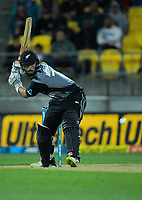 Daryl Mitchell bats during the international Twenty20 cricket match between NZ Black Caps and India at Westpac Stadium in Wellington, New Zealand on Wednesday, 6 February 2019. Photo: Dave Lintott / lintottphoto.co.nz