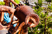 Sweden, Gotska Sandön national park. Nymans stugor at Sankt Anna. Rusty parts.