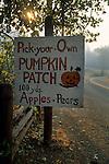 Road sign for pumpkin patch, Goyettes Ranch Apple Farm, Camino Eldorado County, California