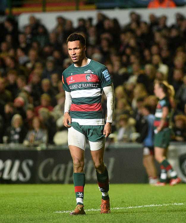 Leicester Tigers' Jordan Olowofela<br /> <br /> Photographer Hannah Fountain/CameraSport<br /> <br /> Gallagher Premiership - Leicester Tigers v Northampton Saints - Friday 22nd March 2019 - Welford Road - Leicester<br /> <br /> World Copyright © 2019 CameraSport. All rights reserved. 43 Linden Ave. Countesthorpe. Leicester. England. LE8 5PG - Tel: +44 (0) 116 277 4147 - admin@camerasport.com - www.camerasport.com