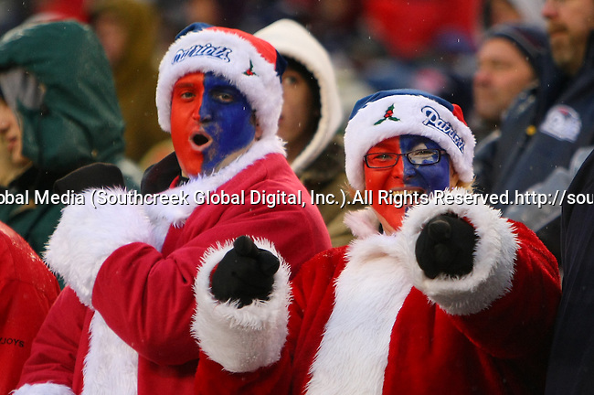 13December2009: New England Patriot fans get into the Christmas spirit with a win over Carolina. The New England Patriots defeated the Carolina Panthers 20-10 at Gillette Stadium in Foxborough, Massachusetts.