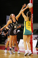 17.09.2008 Silver Ferns Casey Williams and Australia's Kate Beveridge in action during the New World Netball test match between the Silver Ferns and Australia played at Westpac Arena in Christchruch. Mandatory Photo Credit ©Michael Bradley.