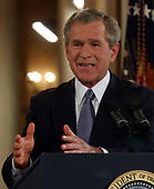 United States President George W. Bush conducts a formal press conference from the East Room of the White House in Washington, DC on April 13, 2004.United States President George W. Bush conducts a formal press conference from the East Room of the White House in Washington, DC on April 13, 2004.<br /> Credit: Ron Sachs / CNP