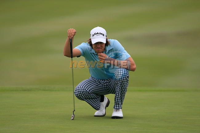 Aaron Baddeley (AUS) lines up his putt on the 9th green during Day 2 of the Volvo World Match Play Championship in Finca Cortesin, Casares, Spain, 20th May 2011. (Photo Eoin Clarke/Golffile 2011)
