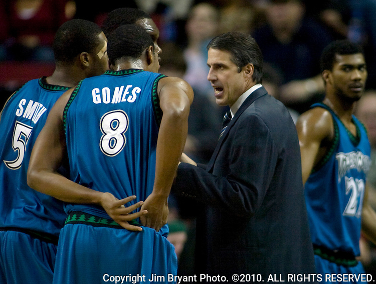 Minnesota Timberwolves' head coach Randy Whitman, right, talks to Ryan Gomes and Craig Smith during a time out against the Seattle SuperSonics in a NBA basketball game during the first half Saturday, Dec. 29, 2007 in Seattle.  . Jim Bryant Photo. ©2010. All Rights Reserved.