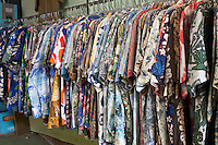Hawaiian aloha shirts for sale inside Glass From the Past Antique Store in Honomu, Big Island.