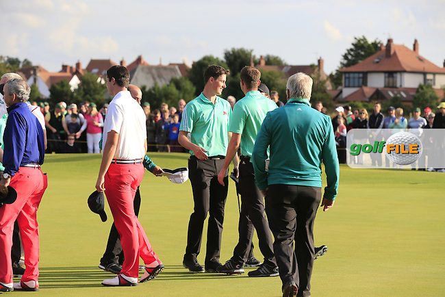 Gary Hurley (IRL) celebrations during the afternoon singles for the Walker cup Royal Lytham St Annes, Lytham St Annes, Lancashire, England. 13/09/2015<br /> Picture Golffile | Fran Caffrey<br /> <br /> <br /> All photo usage must carry mandatory copyright credit (&copy; Golffile | Fran Caffrey)