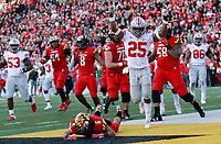 Ohio State Buckeyes safety Brendon White (25) celebrates the missed pass in an attempted two point conversion to Maryland Terrapins defensive lineman Jeshaun Jones (6) in tovertime of their game at Maryland Stadium in College Park, MD on November 17, 2018. [ Brooke LaValley / Dispatch ]