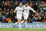 Real Madrid's Alvaro Arbeloa (l) and Raphael Varane celebrate goal during Copa del Rey - King's Cup semifinal second match.February 26,2013. (ALTERPHOTOS/Acero)