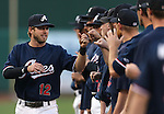 Reno Aces' Mike Freeman greets teammates before the first game of the PCL championship series in Reno, Nev., on Monday, Sept. 8, 2014. <br /> Photo by Cathleen Allison