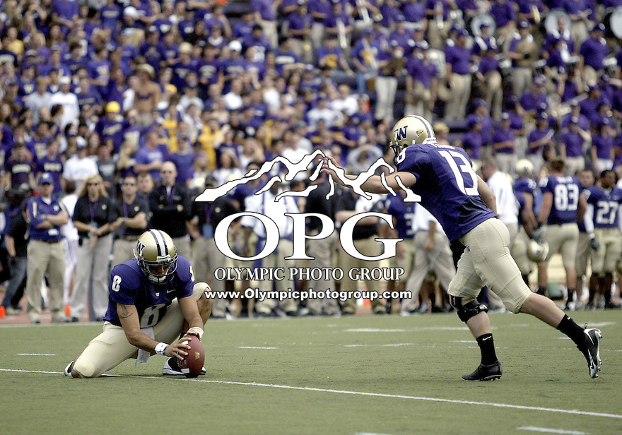 Sept 06, 2008:  Washington Huskies place kicker #13 Ryan Perkins kicks an extra point BYU won 28-27 over the Washington Huskies at Husky Stadium in Seattle, Washington..