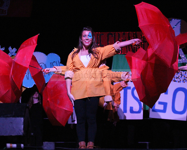 Member from Delta Gamma performs at Greek Sing 2015 at Memorial Coliseum Saturday, March 7, 2015 in Lexington. Photo by Joel Repoley | Staff