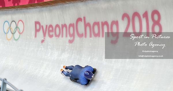 Jeremy Rice (GBR). Mens Skeleton training. Pyeongchang2018 winter Olympics. Olympic sliding centre. Alpensia. Pyeongchang. Republic of Korea. 07/02/2018. ~ MANDATORY CREDIT Garry Bowden/SIPPA - NO UNAUTHORISED USE - +44 7837 394578