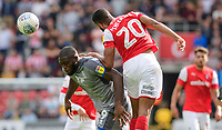 Lincoln City's John Akinde vies for possession with Rotherham United's Michael Ihiekwe<br /> <br /> Photographer Chris Vaughan/CameraSport<br /> <br /> The EFL Sky Bet Championship - Rotherham United v Lincoln City - Saturday 10th August 2019 - New York Stadium - Rotherham<br /> <br /> World Copyright © 2019 CameraSport. All rights reserved. 43 Linden Ave. Countesthorpe. Leicester. England. LE8 5PG - Tel: +44 (0) 116 277 4147 - admin@camerasport.com - www.camerasport.com