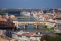 The Ponte Vecchio from the south side of the River Arno, Florence, Tuscany, Italy