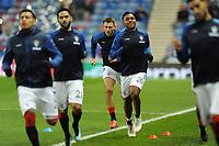 Alfredo Morelos of Rangers warms up ahead of the match during Rangers vs Villarreal CF, UEFA Europa League Football at Ibrox Stadium on 29th November 2018