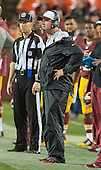 Washington Redskins head coach Jay Gruden watches the final seconds of his team's 21 - 17 victory over the Detroit Lions at FedEx Field in Landover, Maryland on Thursday, August 20, 2015.<br /> Credit: Ron Sachs / CNP