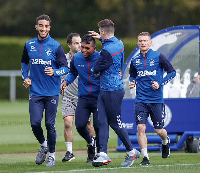 26.09.2018 Rangers training: Connor Goldson, Alfredo Morelos, Ryan Jack and Steven Davis