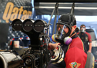 Sept. 21, 2013; Ennis, TX, USA: Crew members for NHRA top fuel dragster driver Khalid Albalooshi during the Fall Nationals at the Texas Motorplex. Mandatory Credit: Mark J. Rebilas-