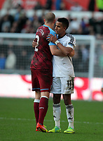 Pictured: Scott Sinclair of Swansea (R) and Alan Hutton of Aston Villa (L) greet each other after the game. Sunday 27 November 2011<br /> Re: Premier League football Swansea City FC v Aston Villa at the Liberty Stadium, south Wales.