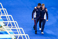 Picture by Rogan Thomson/SWpix.com - 15/07/2017 - Diving - Fina World Championships 2017 -  Duna Arena, Budapest, Hungary - Chris Mears and Jack Laugher of Great Britain are introduced ahead of the Mens 3m Synchronised Springboard Preliminary.