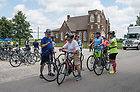 August 18, 2017; Pilgrims make a pit stop during a 28.8 mile ride to Lafayette, Indiana on day 5 of the ND Trail.  As part of the University's 175th anniversary celebration, the Notre Dame Trail will commemorate Father Sorin and the Holy Cross Brothers' journey. A small group of pilgrims will make the entire 300+ mile journey from Vincennes to Notre Dame over  two weeks.(Photo by Barbara Johnston/University of Notre Dame)