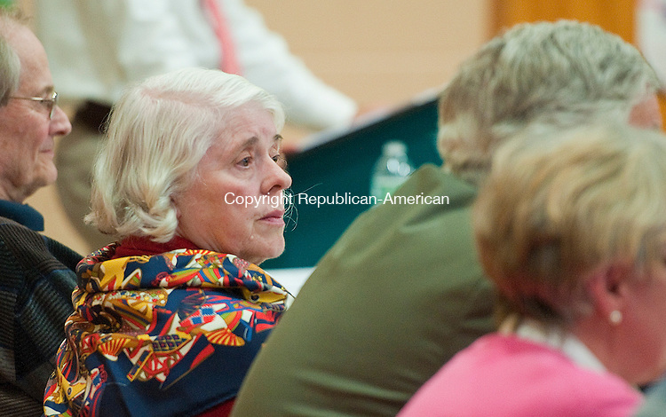 CLEBROOK, CT-052214JS02--Norfolk school board Chairman Sally Carr, who serves on the regionalization committee, listens to questions from the public during a public forum on a possible regional elementary school between the towns of Norfolk and Colebrook Thursday at Colebrook Consolidated School. <br /> Jim Shannon Republican-American