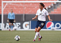 22 MAY 2010:  USA's Stephanie Cox #14 during the International Friendly soccer match between Germany WNT vs USA WNT at Cleveland Browns Stadium in Cleveland, Ohio. USA defeated Germany 4-0 on May 22, 2010.