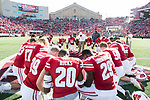 Wisconsin Badgers gather for a post-game prayer after an NCAA Big Ten Conference football game against the Maryland Terrapins Saturday, October 21, 2017, in Madison, Wis. The Badgers won 38-13. (Photo by David Stluka)