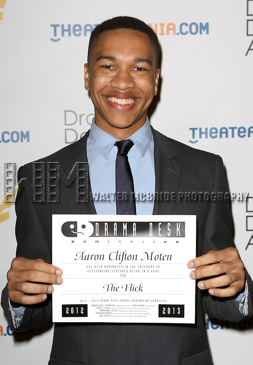 Aaron Clifton Moten attending The 2013 Drama Desk Nominees Reception at JW Mariott Essex House Hotel in New York City on 5/8/2013...