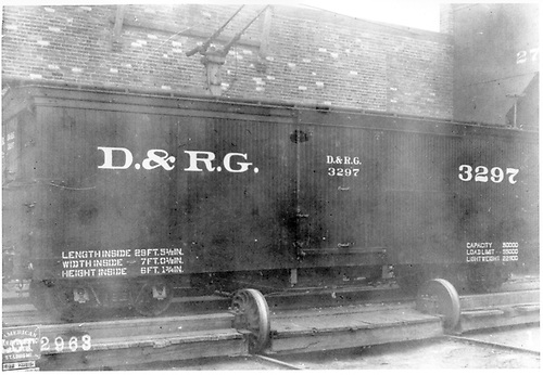 Side view of box car #3297 on transfer table at American Car &amp; Foundry Co. factory in St. Louis, MO.<br /> D&amp;RG  AC&amp;F Co., St. Louis, MO  1903