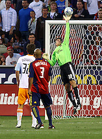 Bobby Boswell, Robbie Russell, Pat Onstad in the Real Salt Lake v Houston 0-0 draw win at Rio Tinto Stadium in Sandy, Utah on August 15, 2009