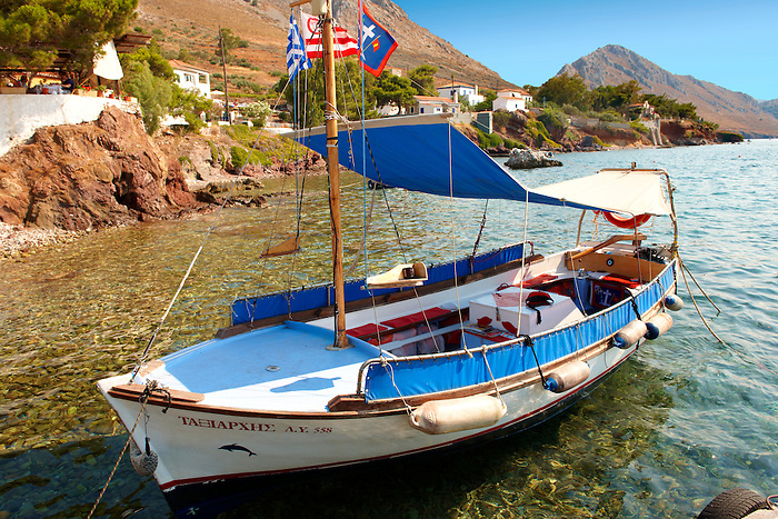 Tourist ferry boat at  Vlychos, Hydra,  Greek Saronic Islands.