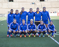 Allston, Massachusetts - June 1, 2014:  The Boston Breakers (blue) led the Washington Spirit (white), 2-1 at half time in a National Women's Soccer League Elite (NWSL) match at Harvard Stadium.