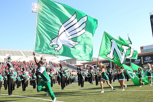 Denton, TX - NOVEMBER 3: North Texas Mean Green cheerleaders before the start of the game Arkansas State Red Wolves at Apogee Stadium in Denton on November 3, 2012 in Denton, Texas. Photo by: Rick Yeatts