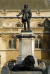 Statue of Oliver Cromwell outside the Houses of Parliament, Westminster, London, England
