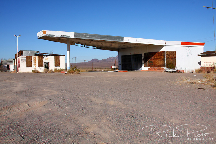 Abandoned gas station and garage along Route 66 in Ludlow, California. Prior to the construction of Interstate 40 Route 66 was the primary road through the Mojave Desert.
