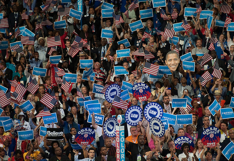 UNITED STATES - September 6 : Delegates cheer during the 2012 Democratic National Convention at the Time Warner Center on September 5, 2012 in Charlotte, North Carolina. (Photo By Douglas Graham/CQ Roll Call)