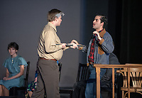 Seaton Crossman as Fred Hall<br /> Nour Elsayed as Danny Rosales<br /> Photo from the dress rehearsal of the Occidental College Department of Theater presentation of The Many Deaths of Danny Rosales by Carlos Morton, directed by Culley Guest Artist Jorge Huerta, Nov. 7, 2018 in Keck Theater.<br /> The Many Deaths of Danny Rosales is a docu-drama based on actual events that transpired in Texas from 1975 to 1977. It deals with the trial of Sheriff Fred Hall who fatally shot Danny Rosales with a sawed off shotgun. Beginning in a courtroom, told through flashbacks, each witness and the defendant relate a different version leading up to Danny's death.<br /> (Photo by Marc Campos, Occidental College Photographer)