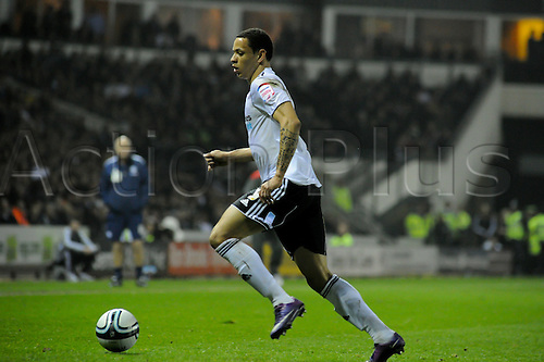 13.03.2012 Derby, England. Derby County v Nottingham Forest.Nathan Tyson (Derby County)   in action during the NPower Championship game played at the Pride Park Stadium.