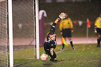 Michigan goaltender, Patrick Sperry, misses a penalty kick during the Big Ten playoffs against Wisconsin on Thursday at the McClimmon Soccer Complex. Michigan goes on to win on penalty kicks, 4-3 to advance to the next round.