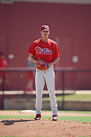 Philadelphia Phillies pitcher Tyler McKay (16) gets ready to deliver a pitch during a Florida Instructional League game against the Atlanta Braves on October 5, 2018 at the Carpenter Complex in Clearwater, Florida.  (Mike Janes/Four Seam Images)