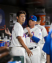(L-R) Daisuke Matsuzaka, Terry Collins manager (Mets),<br /> AUGUST 23, 2013 - MLB :<br /> Manager Terry Collins of the New York Mets talks with Daisuke Matsuzaka in the dugout during the Major League Baseball game against the Detroit Tigers at Citi Field in Flushing, New York, United States. (Photo by Thomas Anderson/AFLO) (JAPANESE NEWSPAPER OUT)