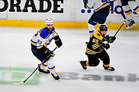 June 6, 2019: St. Louis Blues defenseman Alex Pietrangelo (27) and Boston Bruins left wing Brad Marchand (63) in game action during game 5 of the NHL Stanley Cup Finals between the St Louis Blues and the Boston Bruins held at TD Garden, in Boston, Mass. The Blues defeat the Bruins 2-1 in regulation time. Eric Canha/CSM