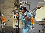 February 19, 2017, Chiba, Japan - A member of Japan's art unit Maywa Denki, Novmichi Tosa play music with his unique instrument gadget Pachi-Moku for their live performance at the Wonder Festival 2017 Winter at Chiba, suburban Tokyo on Sunday, February 19, 2017. Novmichi Tosa unveiled his new gadget Parabora at the plastic -model trade show.    (Photo by Yoshio Tsunoda/AFLO) LwX -ytd-