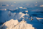 Aerial view of North Cascades National Park from some where north of Glacier Peak.Morning of January 16.
