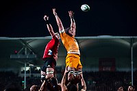 Jaguares' Tomas Lavanini wins lineout ball during the 2019 Super Rugby final between the Crusaders and Jaguares at Orangetheory Stadium in Christchurch, New Zealand on Saturday, 6 July 2019. Photo: Joe Johnson / lintottphoto.co.nz